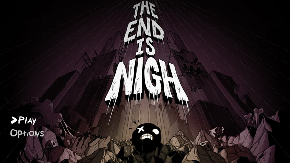 Intro screen for The End is Nigh game depicting the main character Ash standing among ruined buildings and rain